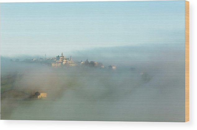Scenics Wood Print featuring the photograph Small Italian Village In The Fog by Deimagine
