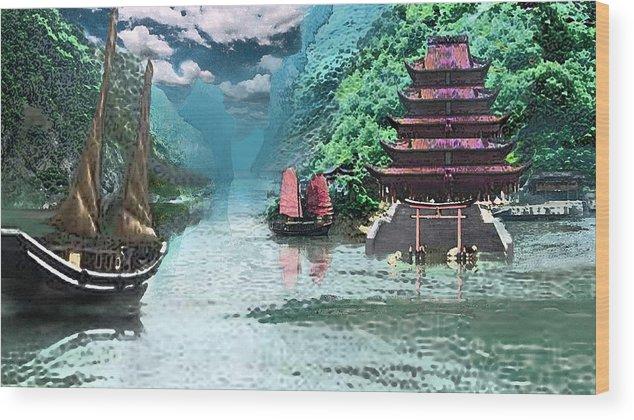 Landscape Wood Print featuring the digital art Temple on the Yangzte by Steve Karol