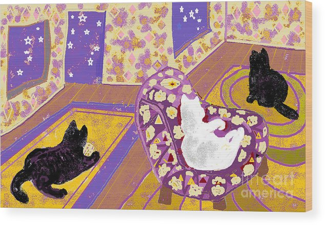 Black Cats Wood Print featuring the digital art Three Cats by Beebe Barksdale-Bruner