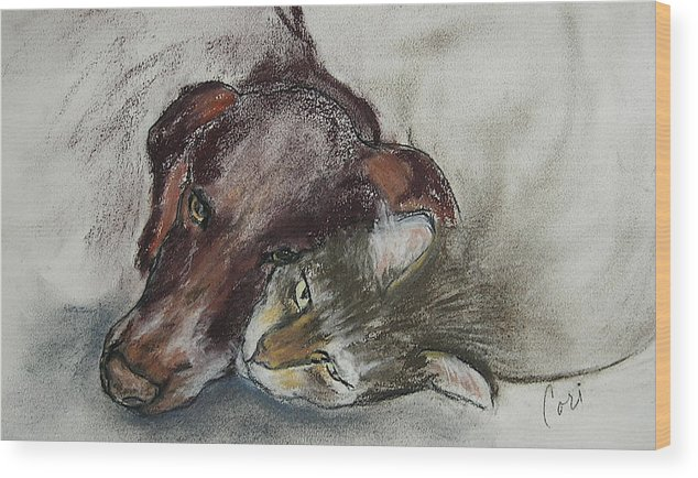 Dog Wood Print featuring the drawing Whisker To Whisker by Cori Solomon