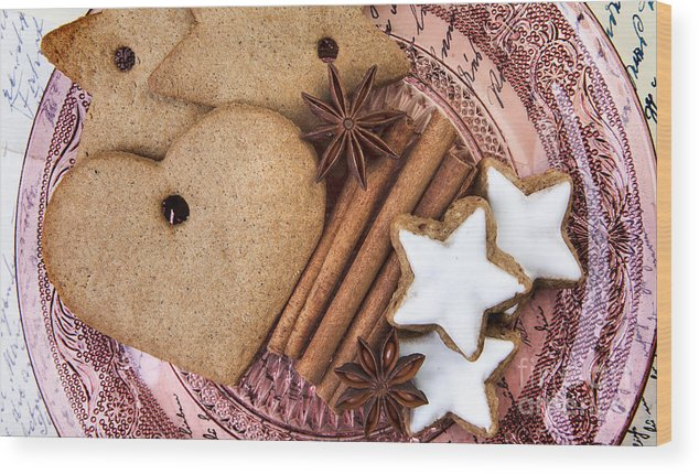 Ginger Wood Print featuring the photograph Christmas Gingerbread by Nailia Schwarz