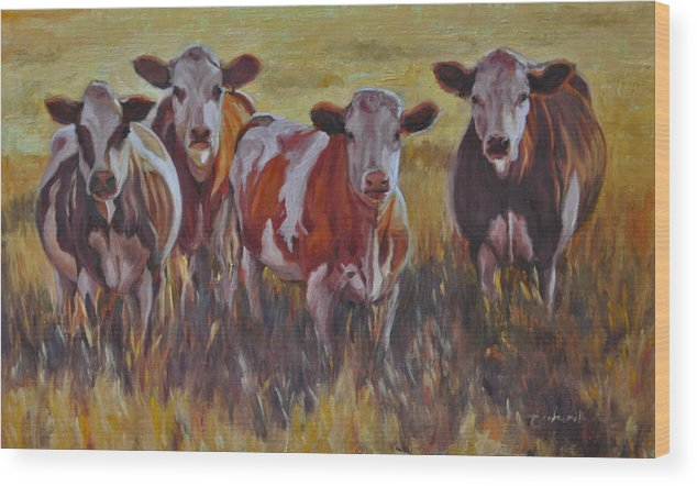 Animal Wood Print featuring the painting Sunset Cows by Tahirih Goffic