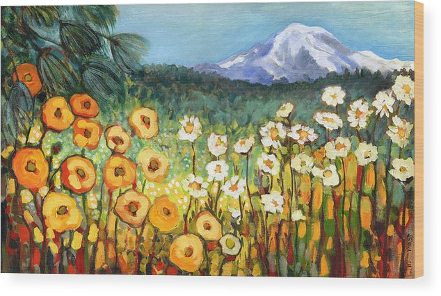 Rainier Wood Print featuring the painting A Mountain View by Jennifer Lommers