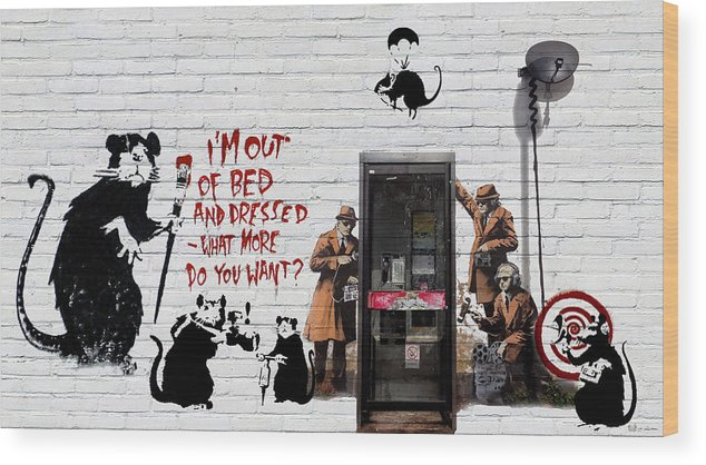 �urban Graffiti� Collection By Serge Averbukh Wood Print featuring the photograph Banksy - The Tribute - Rats by Serge Averbukh