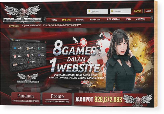 Boshepoker Situs Poker Online Bank Bca 24 Jam Indonesia Wood Print
