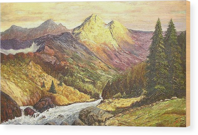 Mountains Wood Print featuring the painting Rocky Mountains by Nicholas Minniti