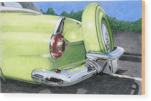Classic Wood Print featuring the drawing 1956 Ford Thunderbird by Rob De Vries