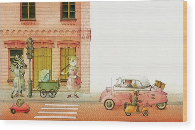 Striped Zebra Cat Cars Street Traffic Old Town Red Children Illustration Book Animals Wood Print featuring the drawing A Striped Story02 by Kestutis Kasparavicius