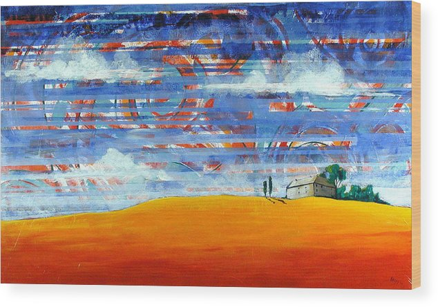 Landscape Wood Print featuring the painting Aurora by Rollin Kocsis