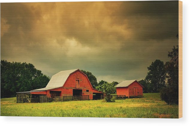 Red Wood Print featuring the photograph Barn in the USA, South Carolina by Zayne Diamond Photographic