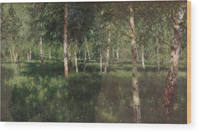Isaac Levitan Wood Print featuring the painting Birch Grove by Isaac Levitan
