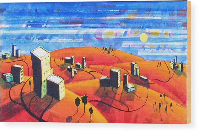 Landscape From Above Wood Print featuring the painting Cities And Towns by Rollin Kocsis