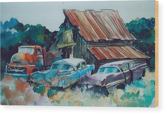 Ford Cabover Wood Print featuring the painting Cluster of Restorables by Ron Morrison