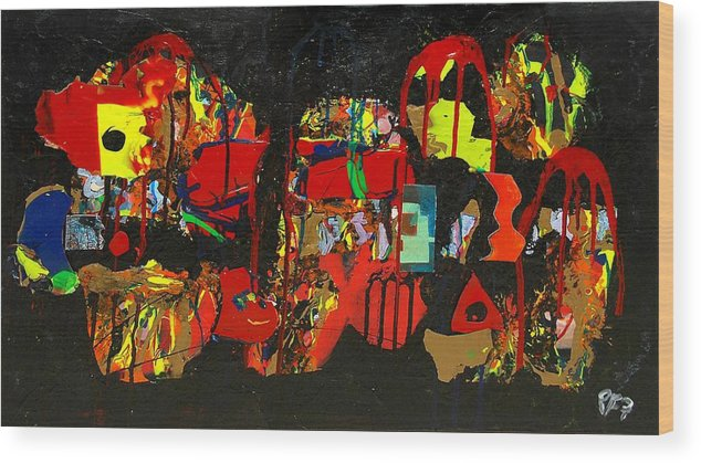 Abstract Wood Print featuring the painting Collage 1 by Paul Freidin