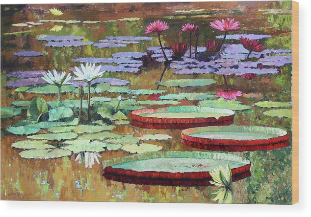 Garden Pond Wood Print featuring the painting Colors on the Lily Pond by John Lautermilch