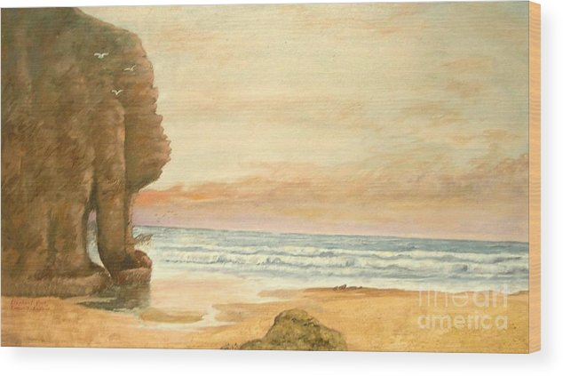Seascape Painting Wood Print featuring the painting Elephant Rock by Nicholas Minniti
