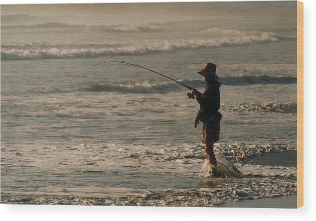 Fisherman Wood Print featuring the photograph Fisherman by Steve Karol