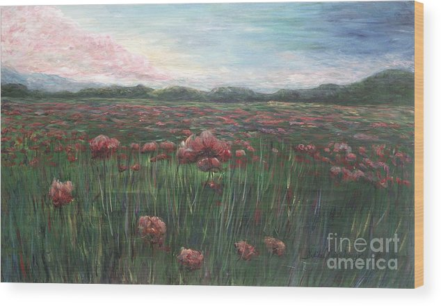 France Wood Print featuring the painting French Poppies by Nadine Rippelmeyer
