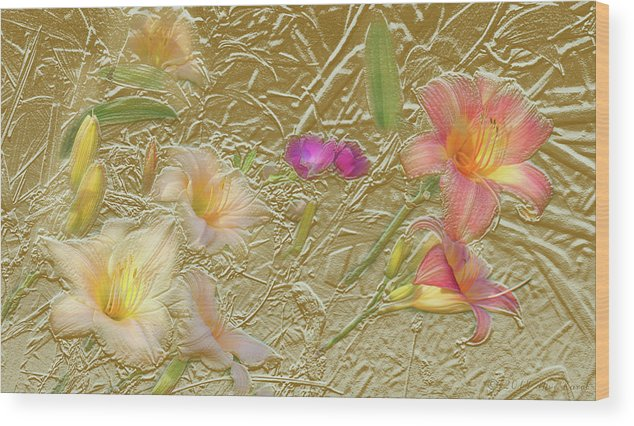 Garden Wood Print featuring the mixed media Garden in Gold Leaf2 by Steve Karol