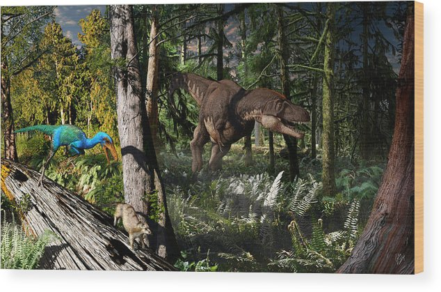 Paleoart Wood Print featuring the digital art Judithian Montana Mural by Julius Csotonyi