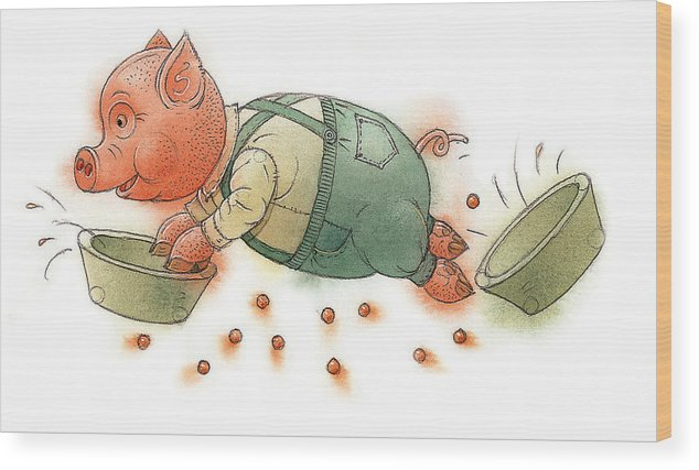 Pig Food Kitchen Dinner Children Wood Print featuring the painting Little Pig by Kestutis Kasparavicius