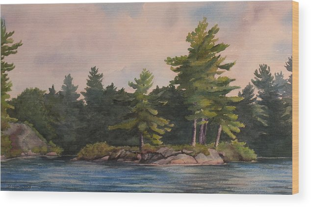 Island Wood Print featuring the painting Morning Light by Debbie Homewood