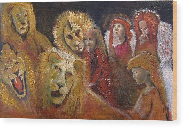 Angels Wood Print featuring the painting Praying for Daniel Finished by J Bauer