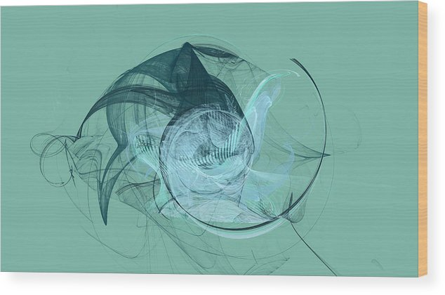 Abstract Wood Print featuring the digital art Sea Monster by Frederic Durville