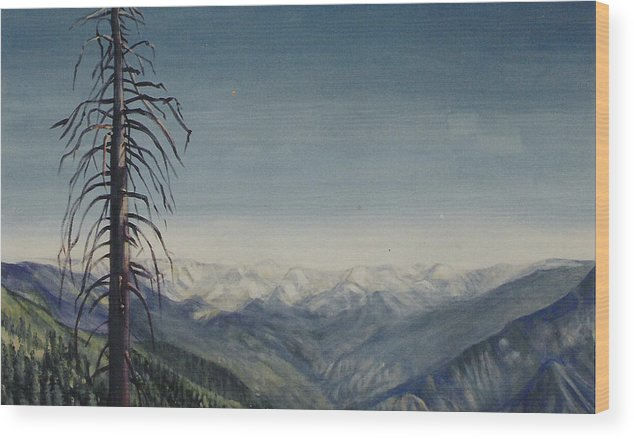 Sequoia National Park Wood Print featuring the painting Sky blue by Howard Stroman