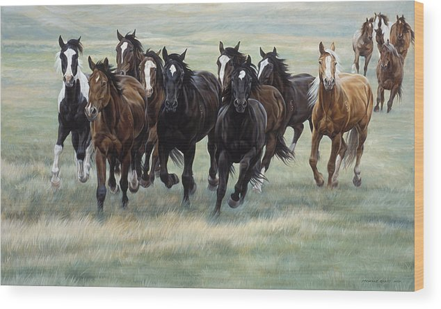 Michelle Grant Wood Print featuring the painting Stampede by JQ Licensing