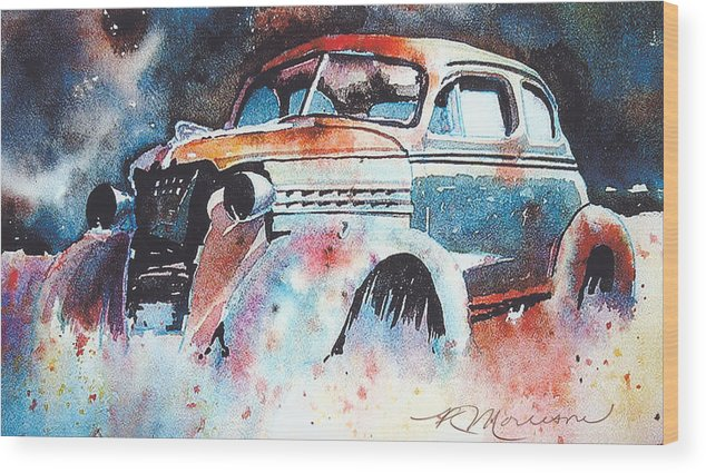 Chev Wood Print featuring the painting StarlightChevy by Ron Morrison