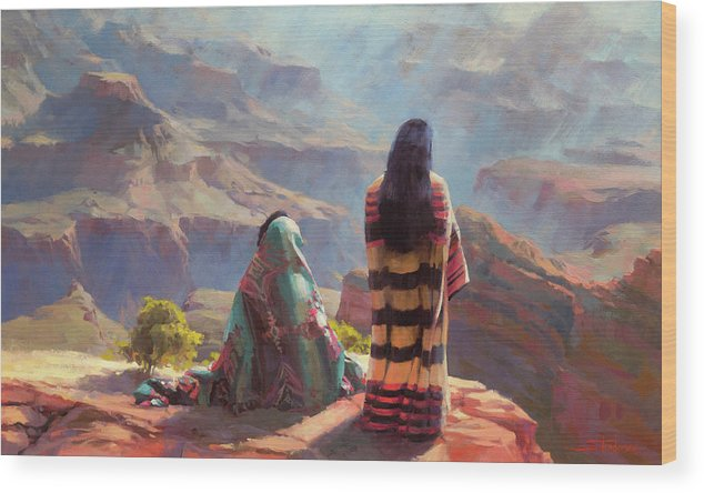 Southwest Wood Print featuring the painting Stillness by Steve Henderson