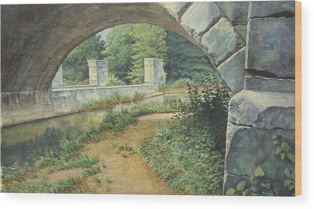 Erie Canal Wood Print featuring the painting Under the Erie Canal by Stephen Bluto