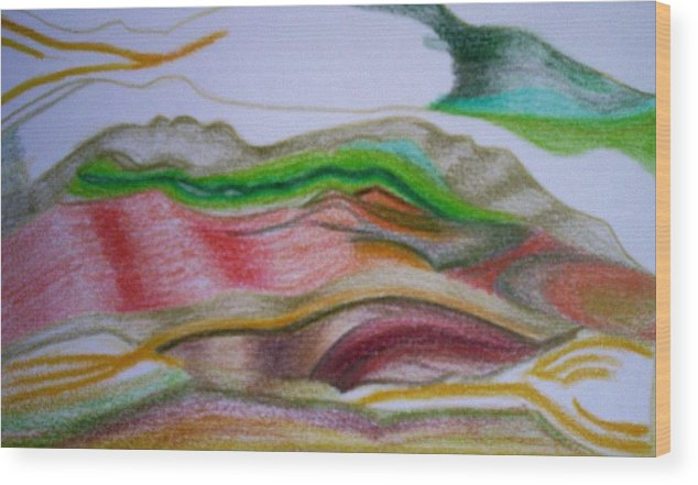 Abstract Wood Print featuring the painting Valley Stream by Suzanne Udell Levinger