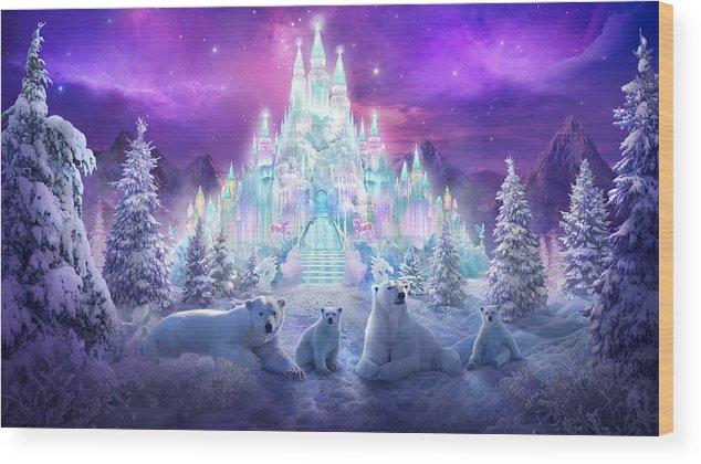 Polar Bears Wood Print featuring the painting Winter Wonderland by Philip Straub