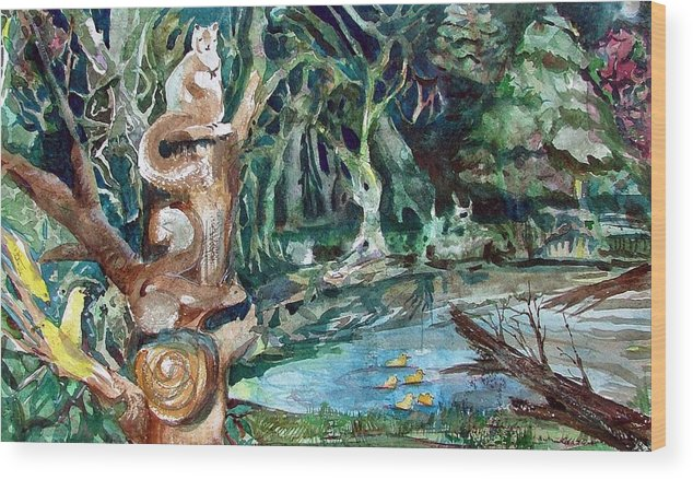 Squirrels Wood Print featuring the painting Woodland Critters by Mindy Newman