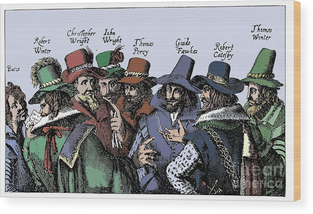 Guy Fawkes And The Gunpowder Plotters Wood Print by Print Collector