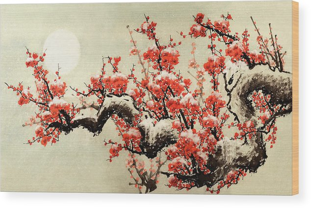 Chinese Culture Wood Print featuring the digital art Plum Blossom by Vii-photo