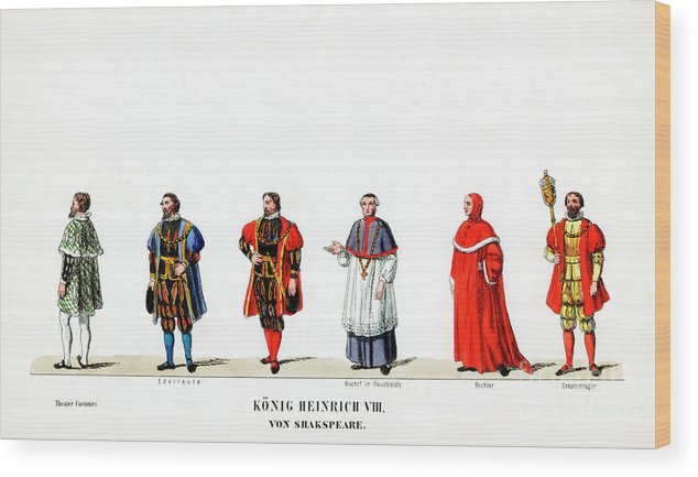 Engraving Wood Print featuring the drawing Theatre Costume Designs by Print Collector