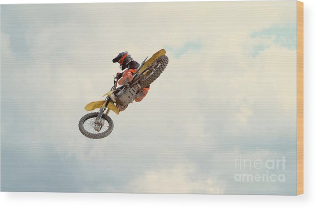 Expertise Wood Print featuring the photograph Motorbike Riding by Simonkr