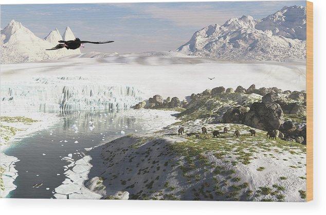 Prehistoric Era Wood Print featuring the digital art A Receding Glacial Scene Circa 18,000 by Arthur Dorety/stocktrek Images