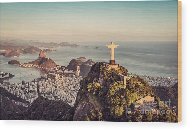 De Wood Print featuring the photograph Aerial Panorama Of Botafogo Bay And by Marchello74