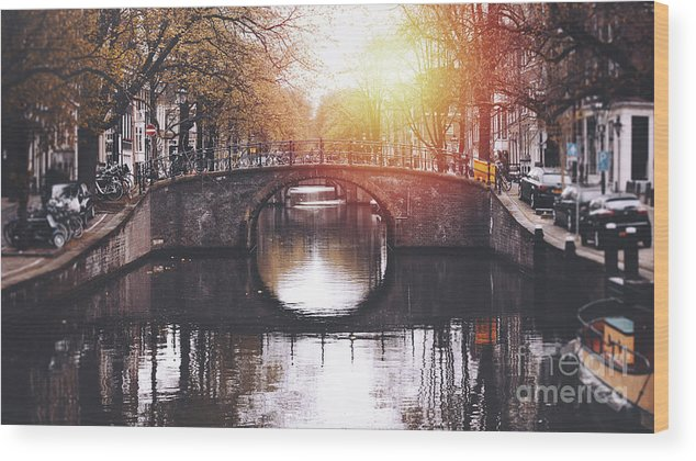Jordaan Wood Print featuring the photograph Amsterdam Cityscape With Canal by Serts