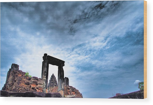 Cambodian Culture Wood Print featuring the photograph Angkor by Cjfan