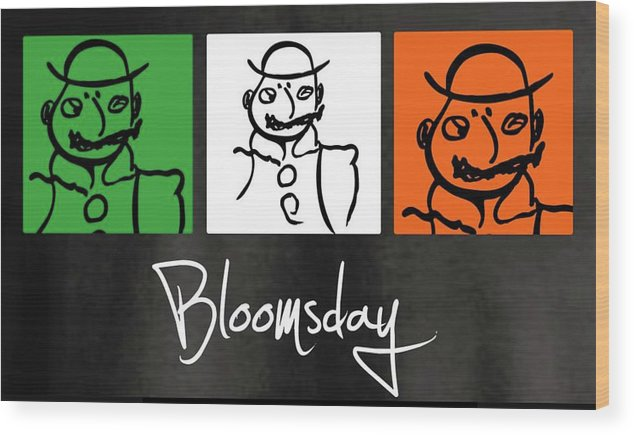 James Joyce Ulysses Bloomsday Wood Print featuring the drawing Bloomsday by Roger Cummiskey
