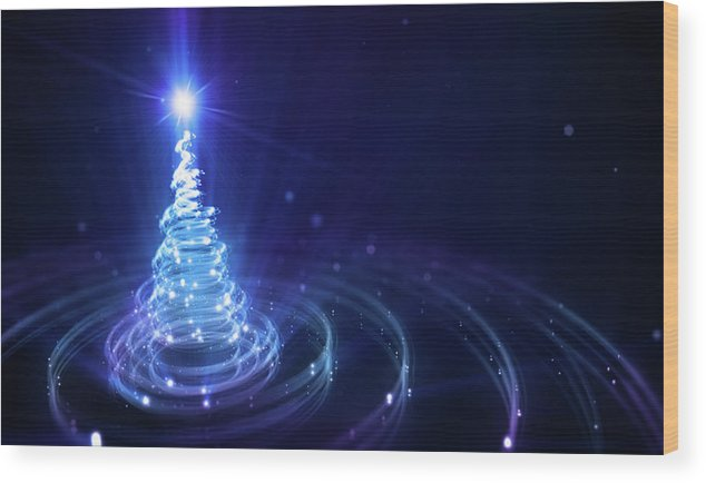 Particle Wood Print featuring the digital art Christmas Background by Da-kuk