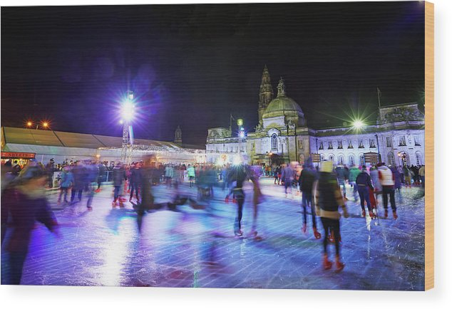 People Wood Print featuring the photograph Ice Rink With Cardiff City Hall by Allan Baxter