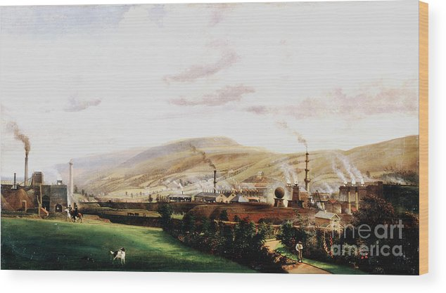 Event Wood Print featuring the drawing Industrial Landscape, Wales, 19th by Print Collector