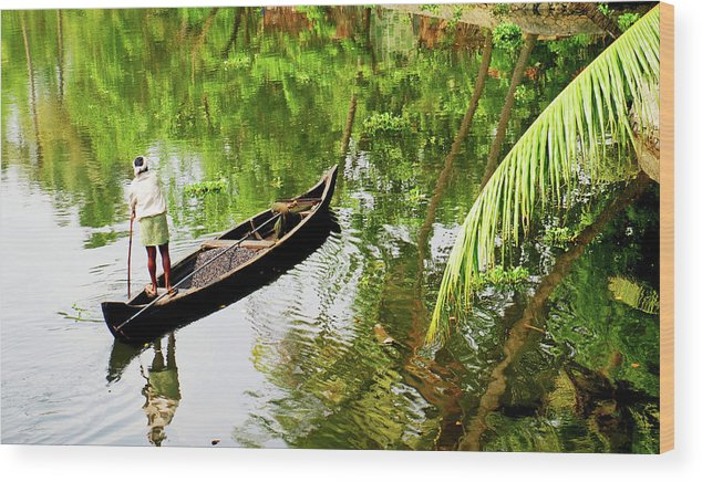 Scenics Wood Print featuring the photograph Kerala Backwaters by Gopan G Nair