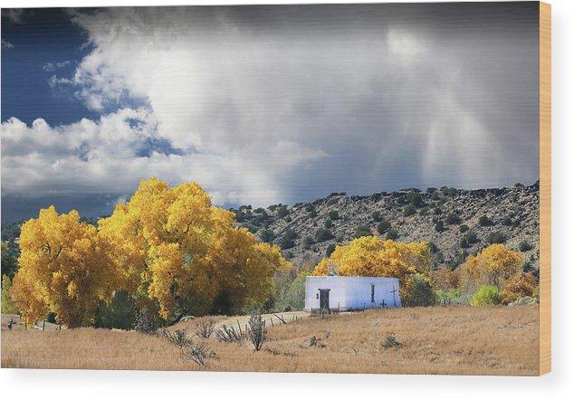 Capilla Wood Print featuring the photograph La Cieneguilla Capilla by Candy Brenton